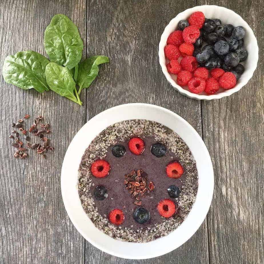 Avocado Spinach Berries Bowl