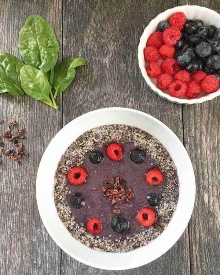 Avocado Spinach Berries Bowl