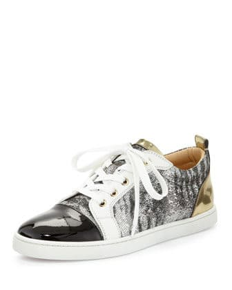 Christian Louboutin Gondoliere Glitter & Mixed Leather Red Sole Sneaker