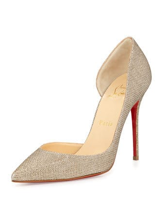 Christian Louboutin Iriza Half-d'Orsay Glitter Red Sole Pump, Gold