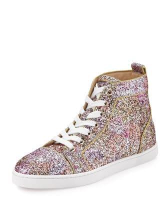 Christian Louboutin Bip Bip Glitter Aquarium High-Top Sneaker, Rosette