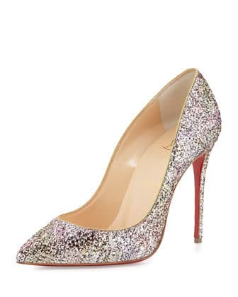 Christian Louboutin Pigalle Follies Glitter Red Sole Pump, Rosette/Gold