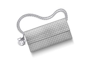 """""""LADY DIOR"""" CROISIÈRE WALLET SILVER-TONE PERFORATED CALFSKIN"""