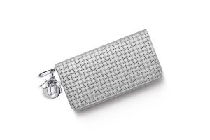 """""""LADY DIOR"""" VOYAGEUR WALLET SILVER-TONE PERFORATED CALFSKIN"""