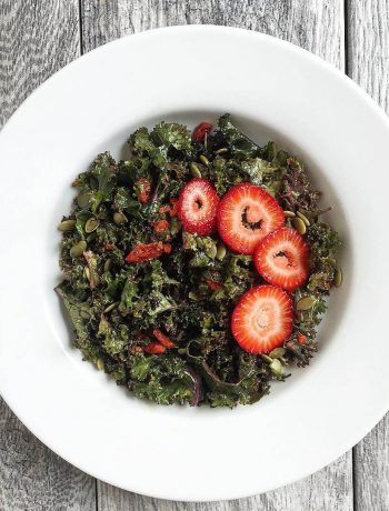 Strawberry Kale Salad with Pump≈kin Seeds and Goji Berries Dressing