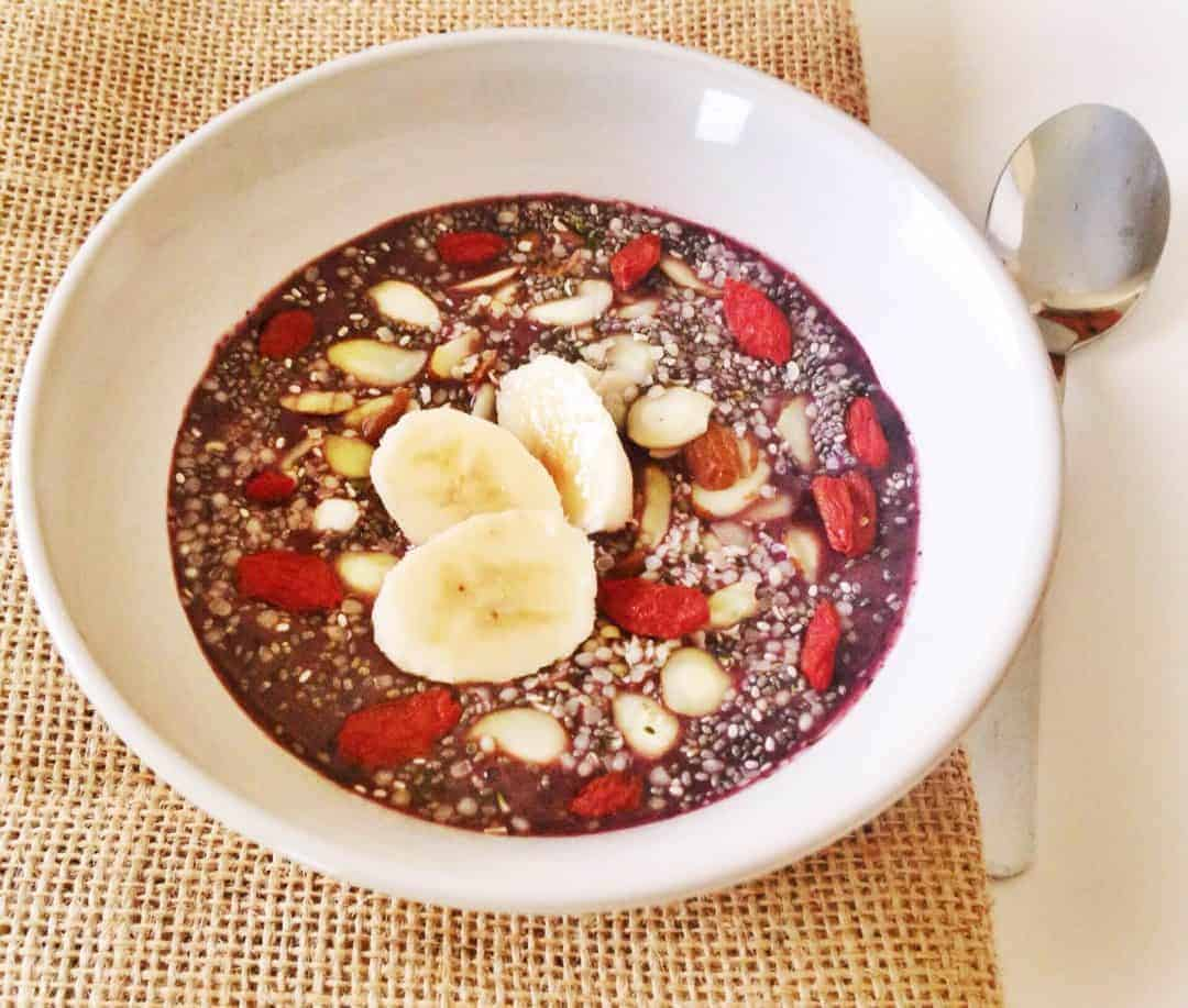 The acai bowl is loaded with antioxidants and is perfect as an on-the-go breakfast. It's super easy and quick to make, yet has tons of delicious flavor! You can mix in just about any topping your like to boost the flavor. Have fun with it! Acai fruit pulp is even richer in antioxidants than cranberries, raspberries, blackberries, strawberries, or blueberries. Acai berries boost weight loss, improves your skin's health and helps prevent aging. For Blending : 1 frozen unsweetened Acai Smoothie Pack 1 cup of Almond Milk 2/3 Ripe Banana 1-2 tablespoons of Chia Seeds 1/2 teaspoon of Cocoa Powder Toppings Any Fruits or nuts that you like or have handy. I used a Banana, Goji Berries, Sliced Almonds, Hemps Seeds, Chia Seeds and Cocoa Powder! Directions : Combine all ingredients in blender and blend. Pour into a bowl and add a few more toppings, possibly sliced almonds for some extra crunch!
