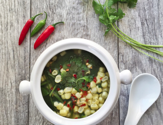 Spinach Corn Soup with Ginger Broth