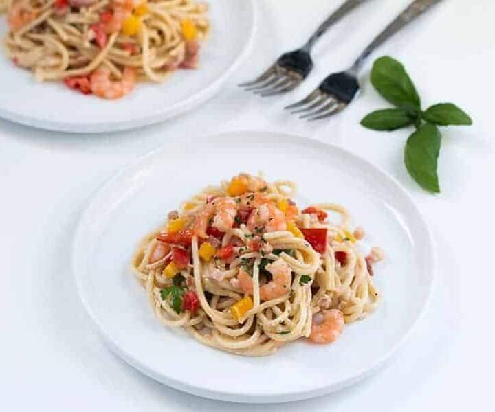 Spaghetti Alfredo with Pancetta and Shrimp