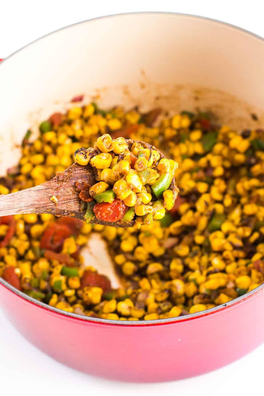 spicy cajun roasted corn salad