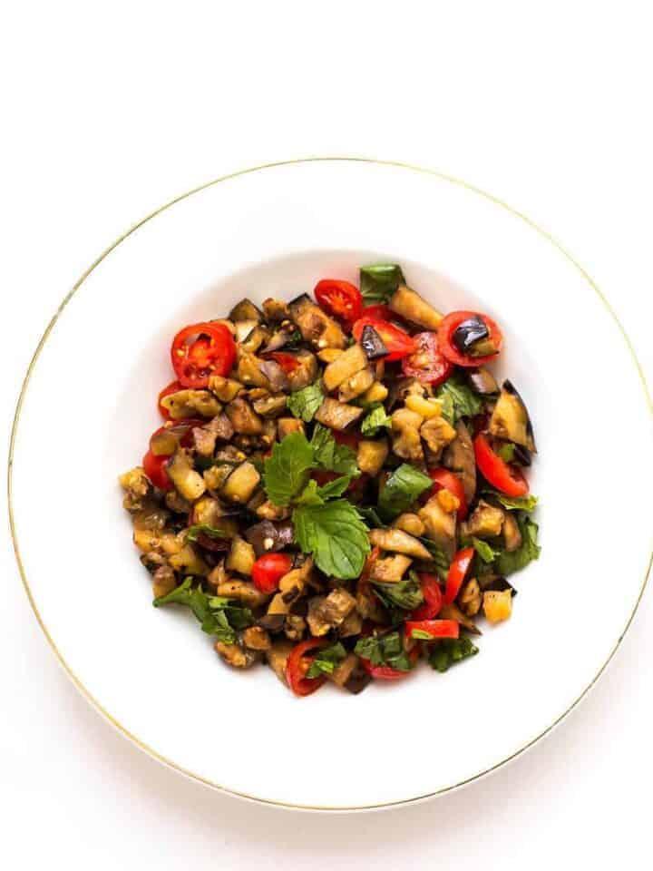 grilled eggplant mint salad recipe
