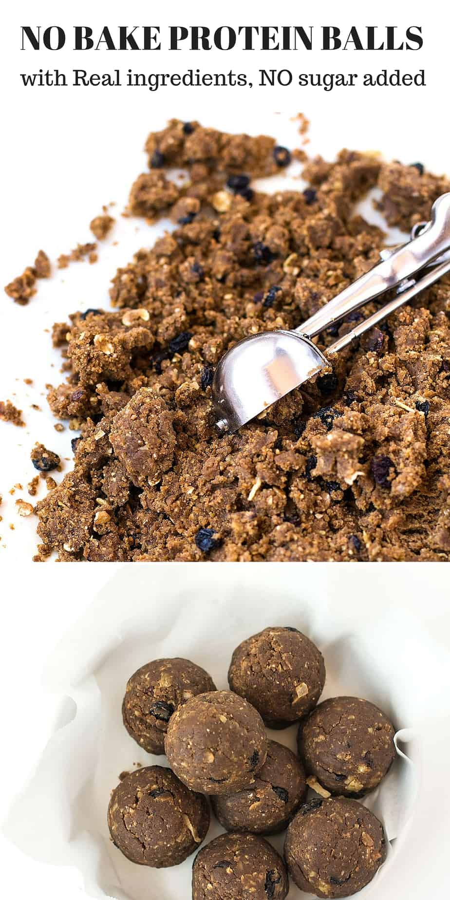 NO BAKE PROTEIN BALLS with Real Ingredients, No Sugar Added. Pre/Post Workout Snack, High Fiber and High Protein Food. Low Carb Diet Friendly Food