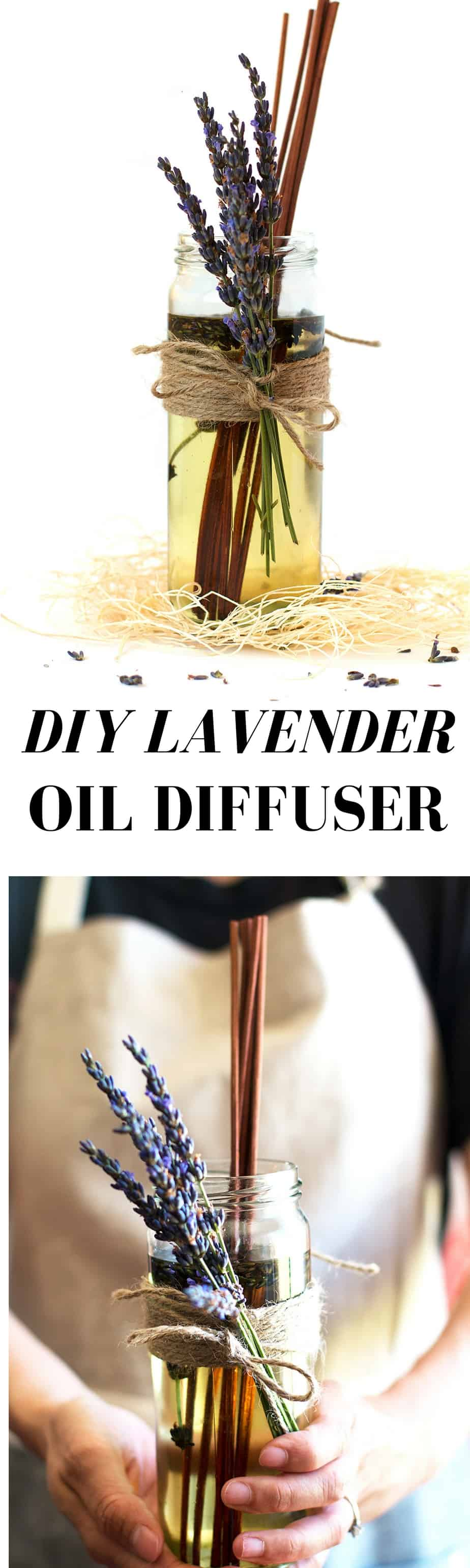 DIY LAVENDER OIL DIFFUSER. NATURAL RECIPE USING NON TOXIC INGREDIENTS, PERFECT ESSENTIAL OILS FOR CALMING, AND RELAXING #AD
