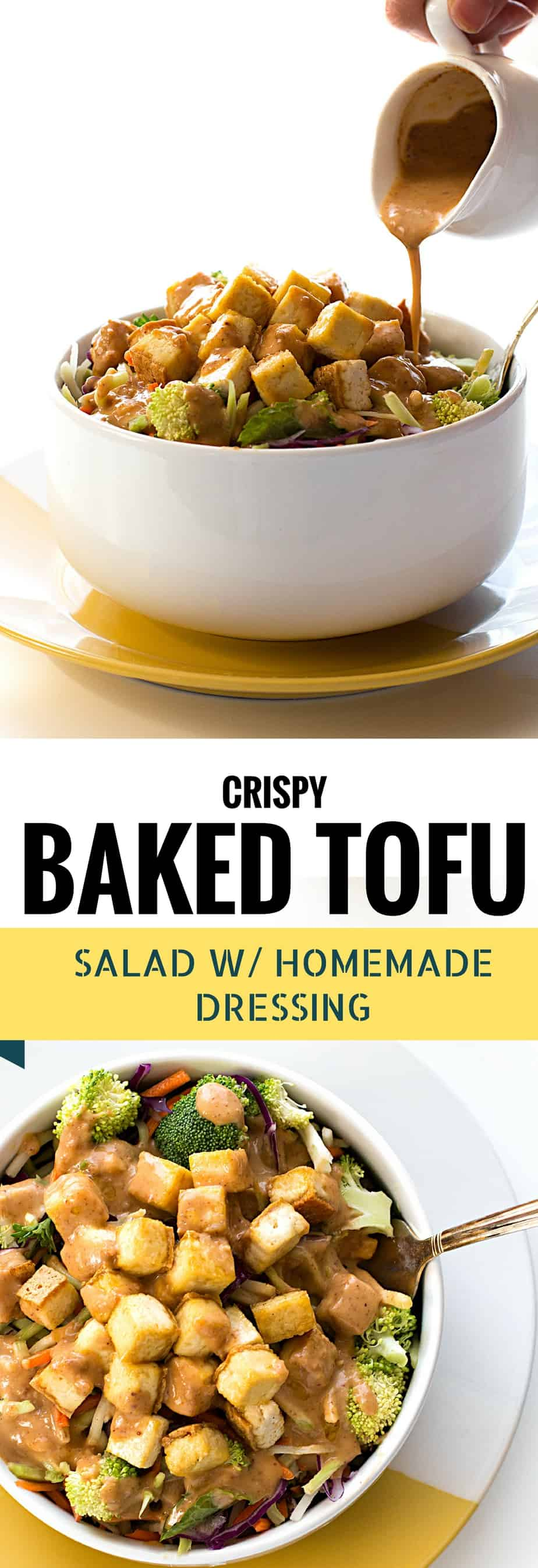 baked tofu with homemade thai salad dressing. Bake without greasy oil, less calorie, packed with protein, quick easy lunch or dinner salad.