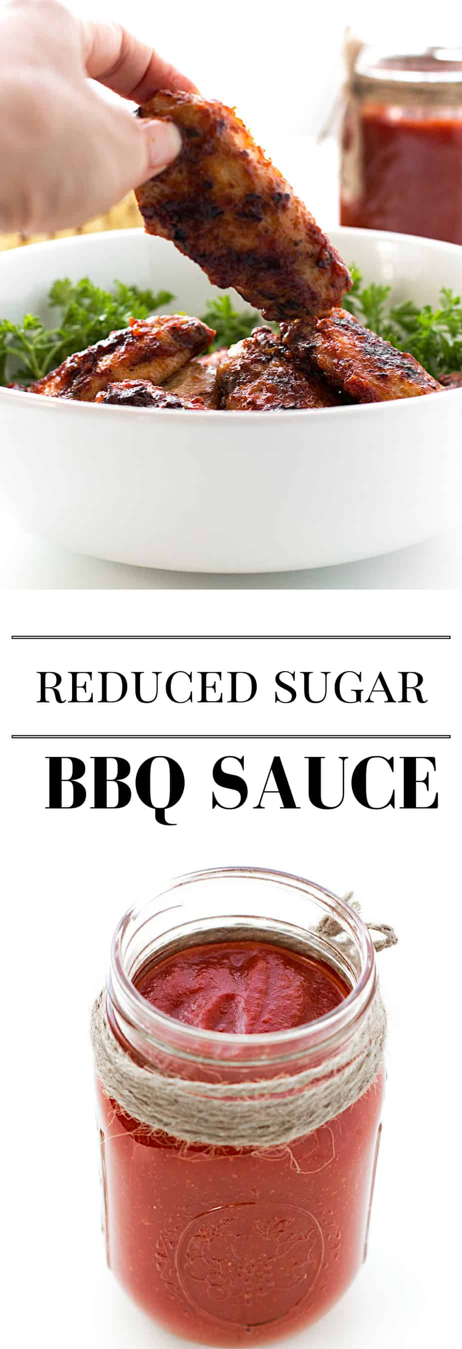 homemade reduced sugar bbq sauce. This bbq sauce recipe is perfect for labor day. Sweet and Tangy sauce, perfect for chicken wings or meats. #SweetSwaps #SplendaSweeties #ad