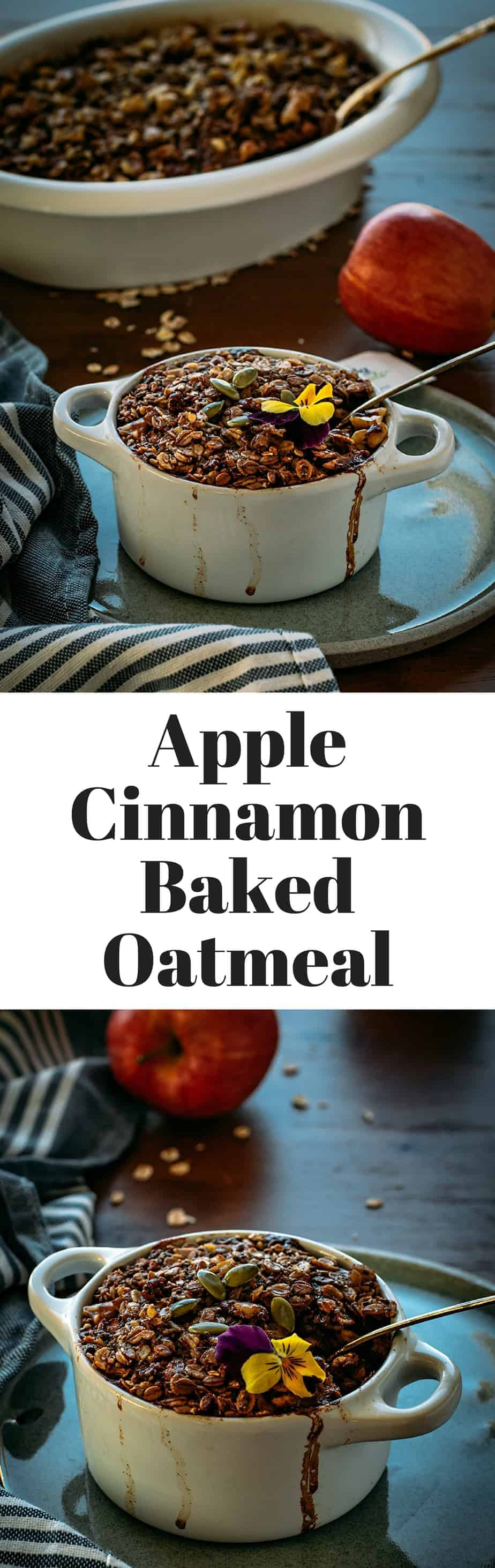 Apple Cinnamon Baked Oatmeal with no sugar added.
