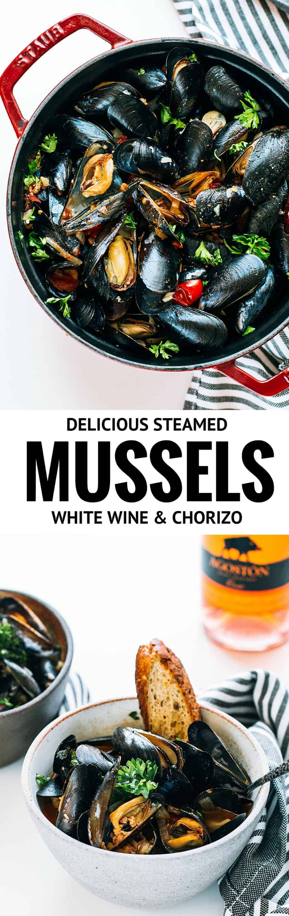 simplest way to cook mussels, and perhaps the most satisfying result. Steamed mussels recipe in white wine, tomatoes, chorizo.