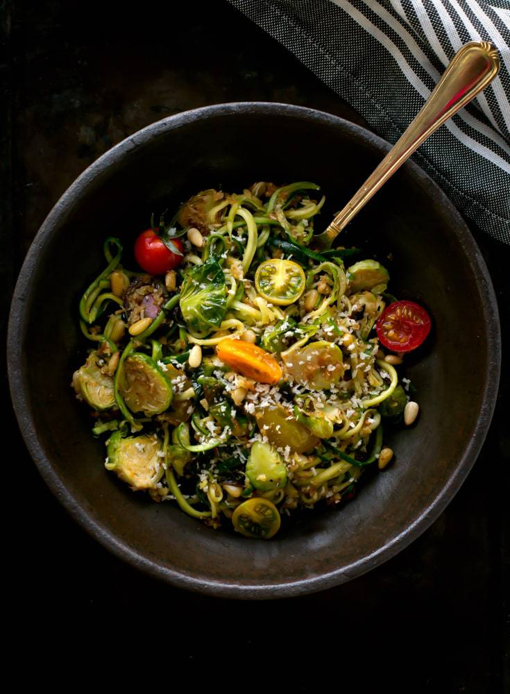 Zucchini Pasta With Brussel Sprout Pine Nuts And Bread