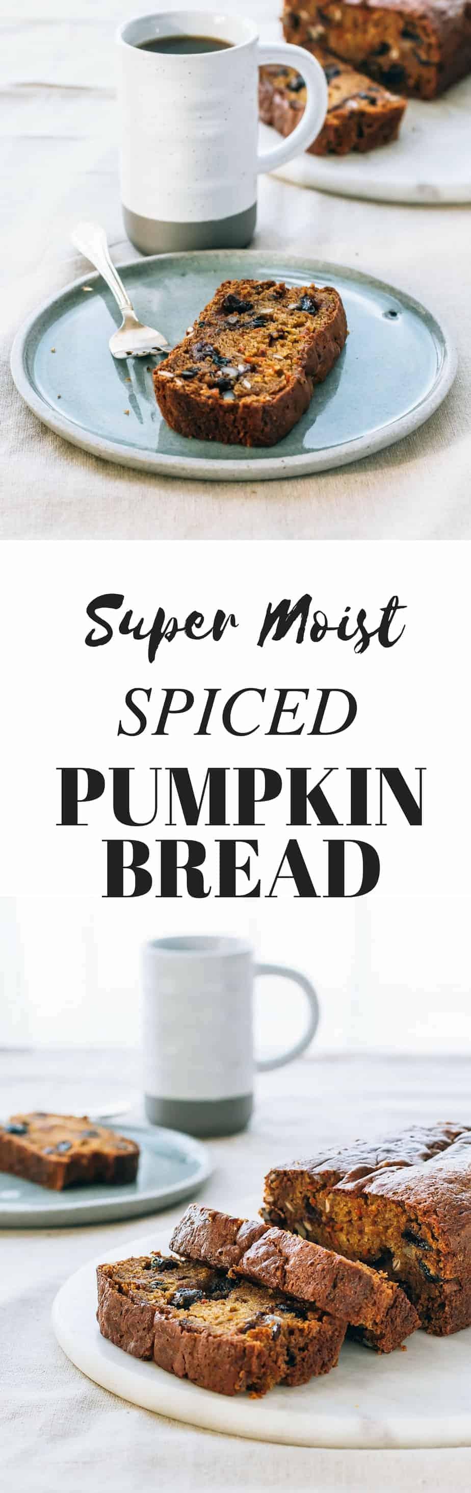 super moist spiced pumpkin bread recipe. Easy fall bake good recipe.