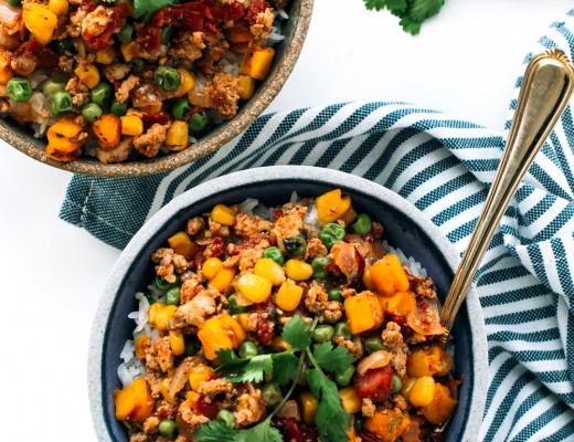 slow cooker ground turkey with butternut squash, corn, peas and southwest spice blend