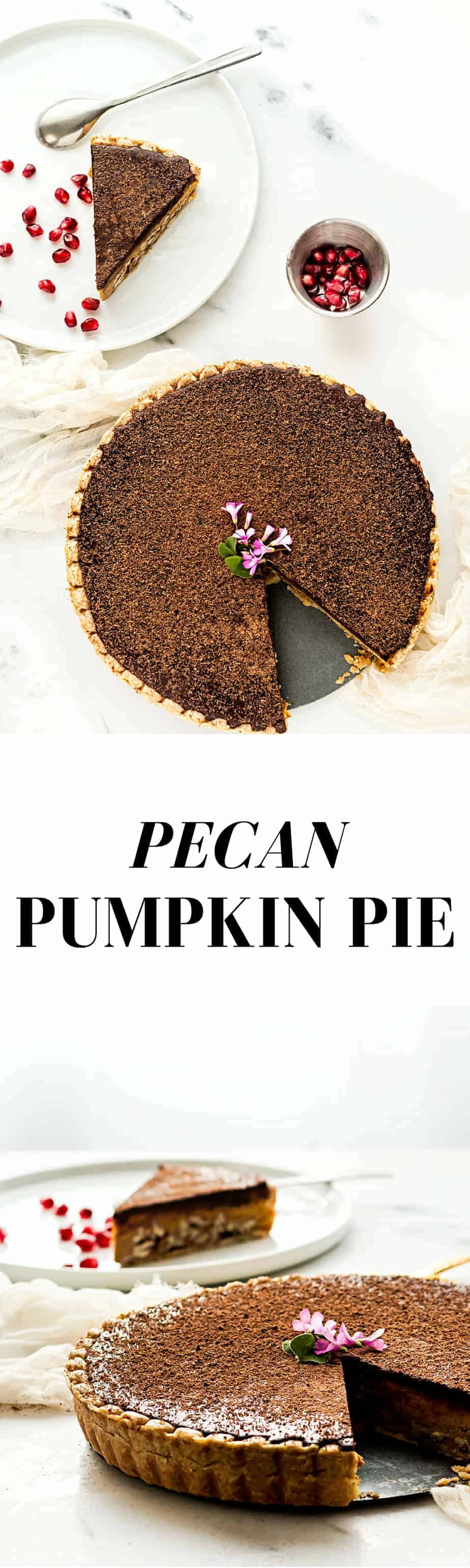 pumpkin pie recipe with pecan and a chocolate topping