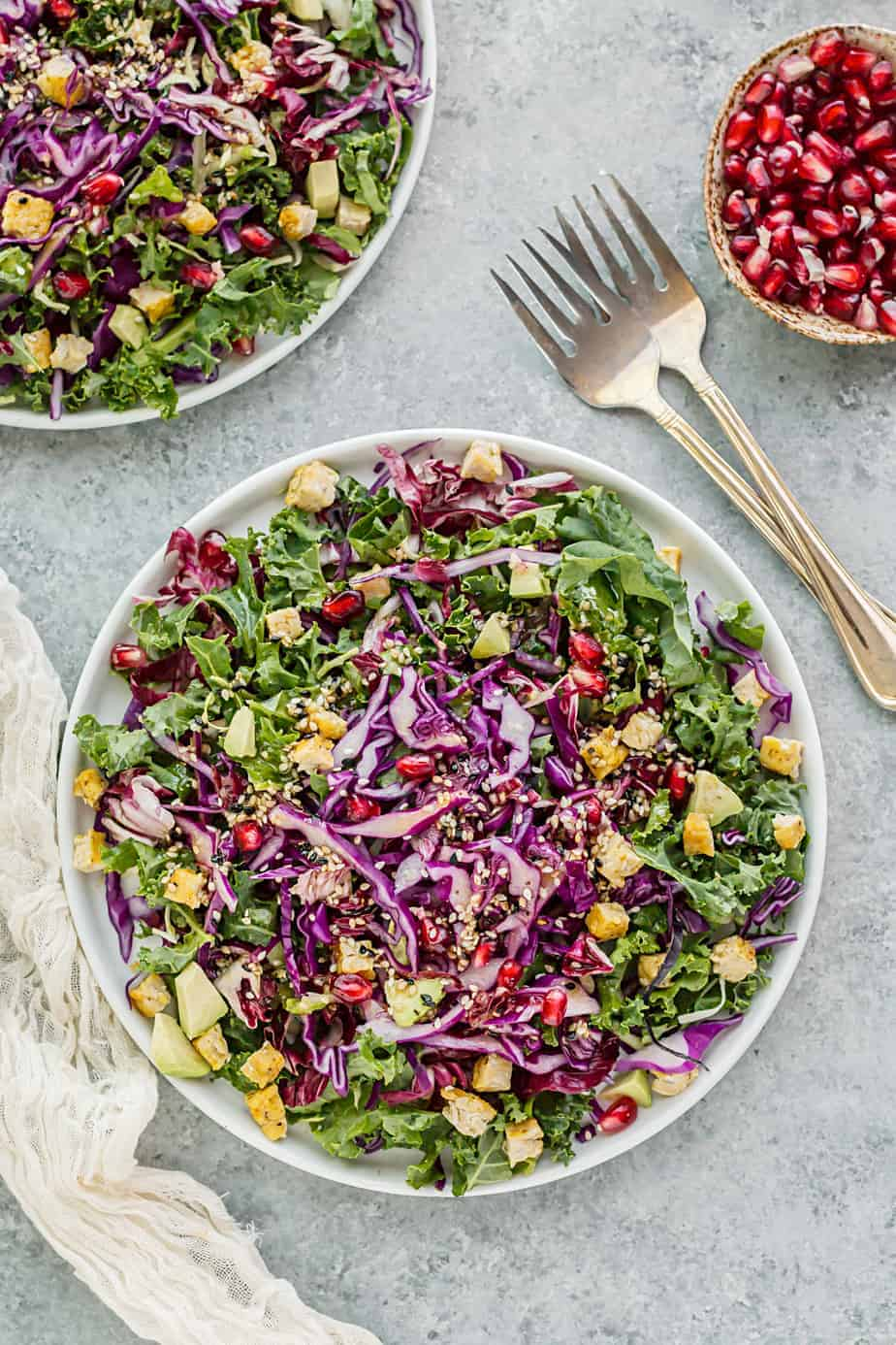 kale cabbage salad sesame dressing