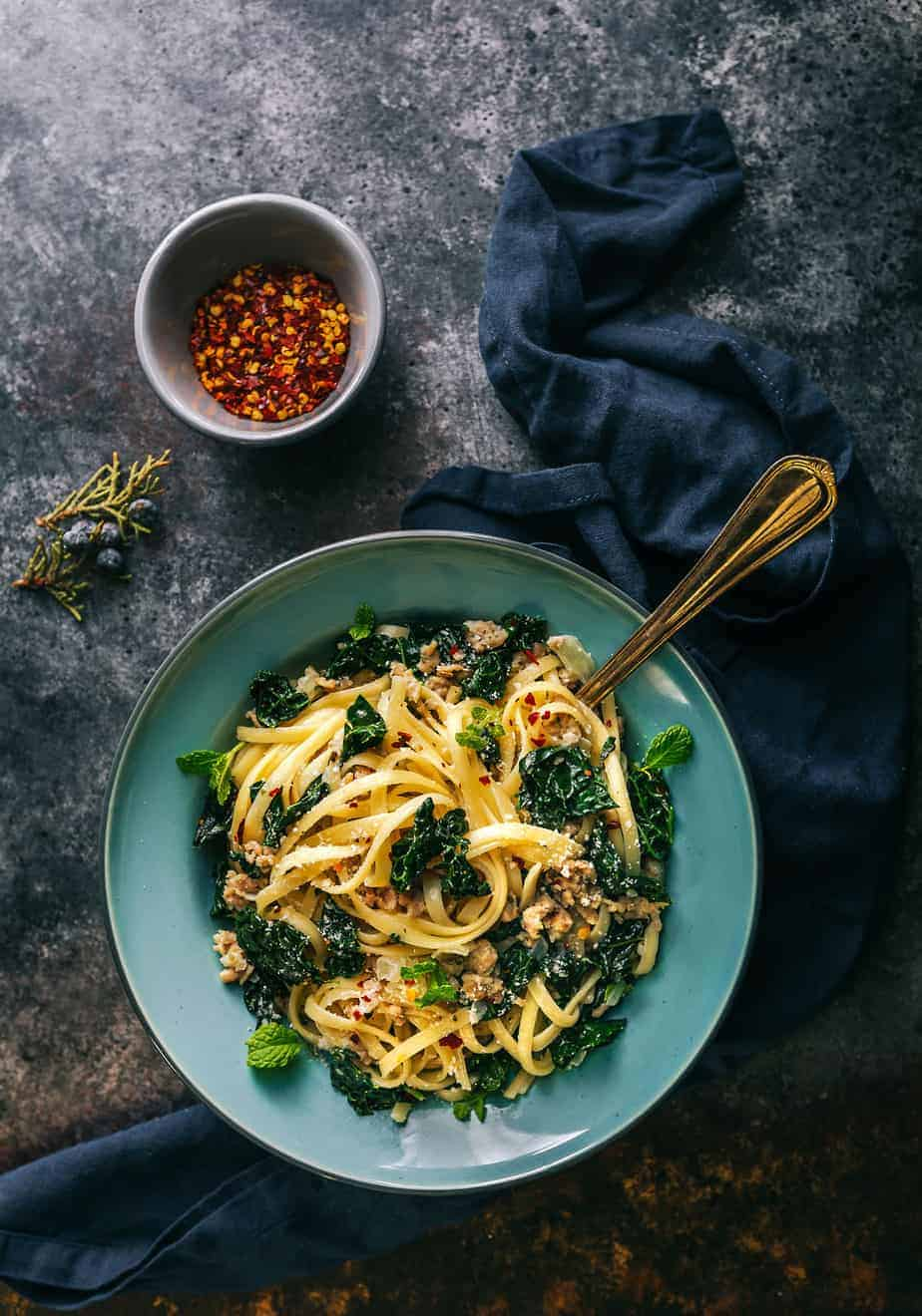 Fettuccine Alfredo with Chicken Sausage and Kale