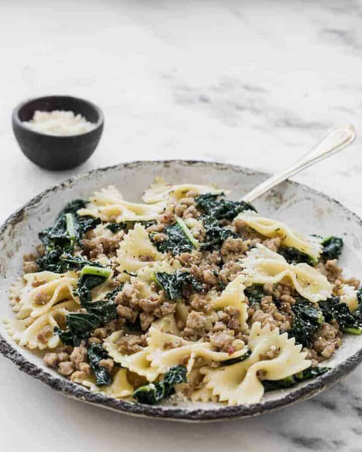 ground turkey recipes spicy italian sausage pasta with kale and lemon