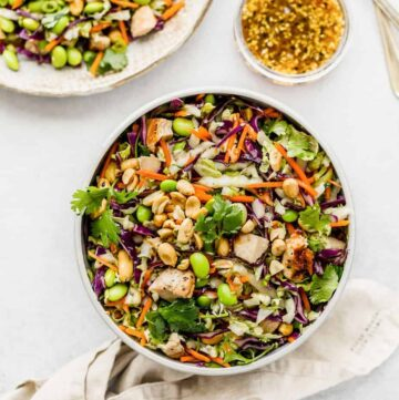asian chopped salad sesame ginger dressing recipe lunch ideas. Asian salad recipe is packed with fresh vegetables, high in anti-oxidant and fiber.