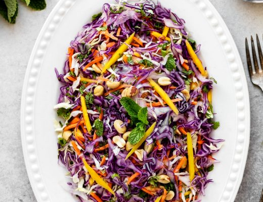 Crunchy Asian Slaw with Cabbage, Mango, Carrot and Tamarind Sauce