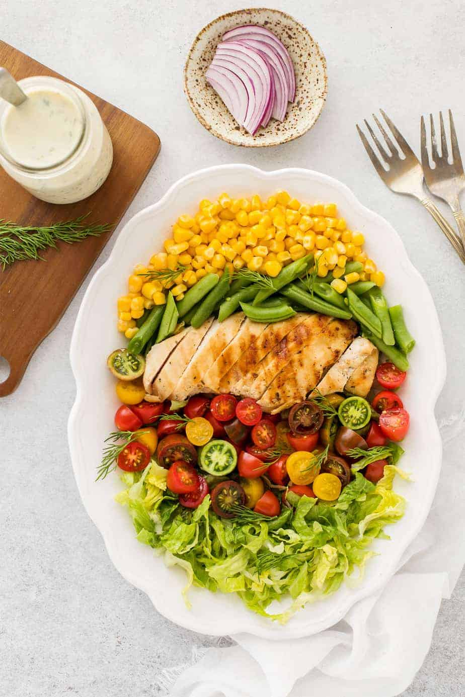 Garden Fresh Salad Recipe with Grilled Chicken and Buttermilk Dressing