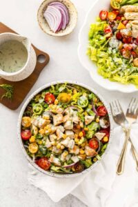 Garden Fresh Salad with Grilled Chicken and Buttermilk Dressing