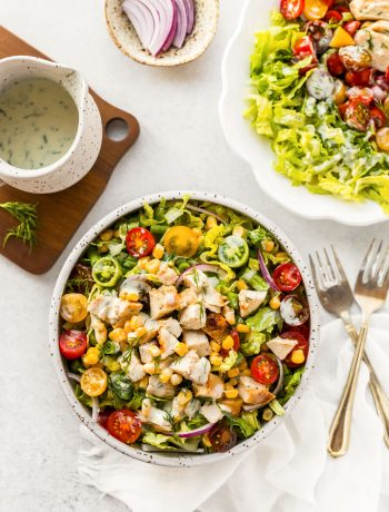 Garden Fresh Salad with Grilled Chicken and Buttermilk Dressing