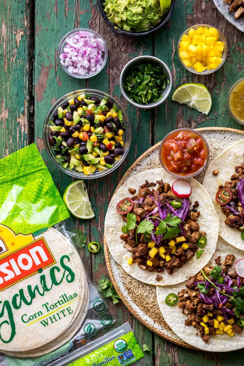Korean Pork Bulgogi Fusion Taco with mission organics tortillas.