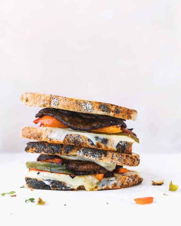 Marinated Portobello Mushroom Sandwich with Grilled Bell Pepper, gruyere cheese and mozzarella cheese