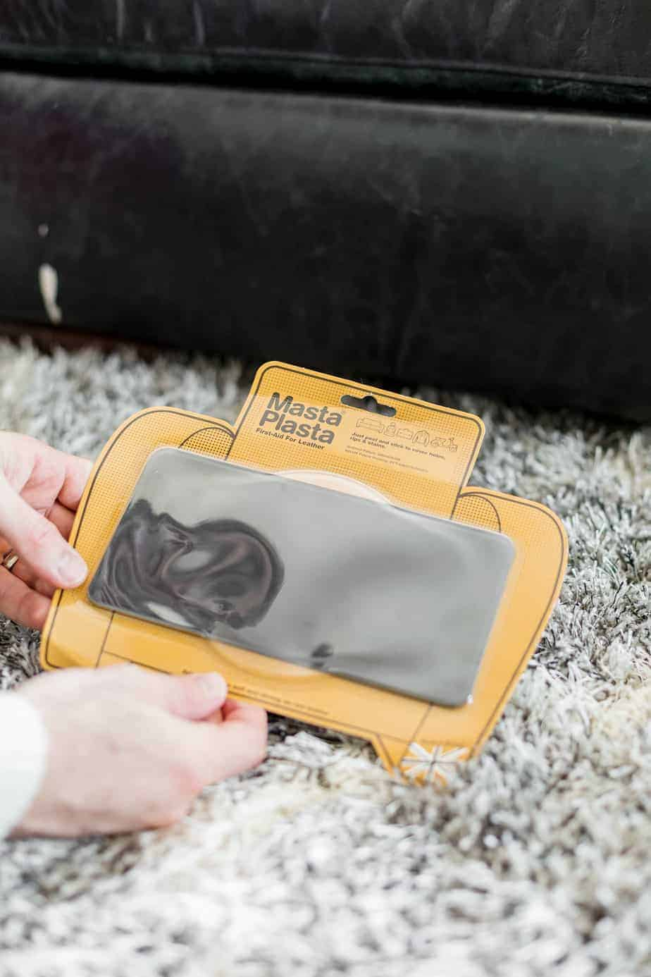DIY Leather Goods Repair, cover scratches, rips, tears, and holes by simply peeling and sticking the MastaPlasta Leather Repair patches. Repairing leather holes, tears and rips with the best repair kit