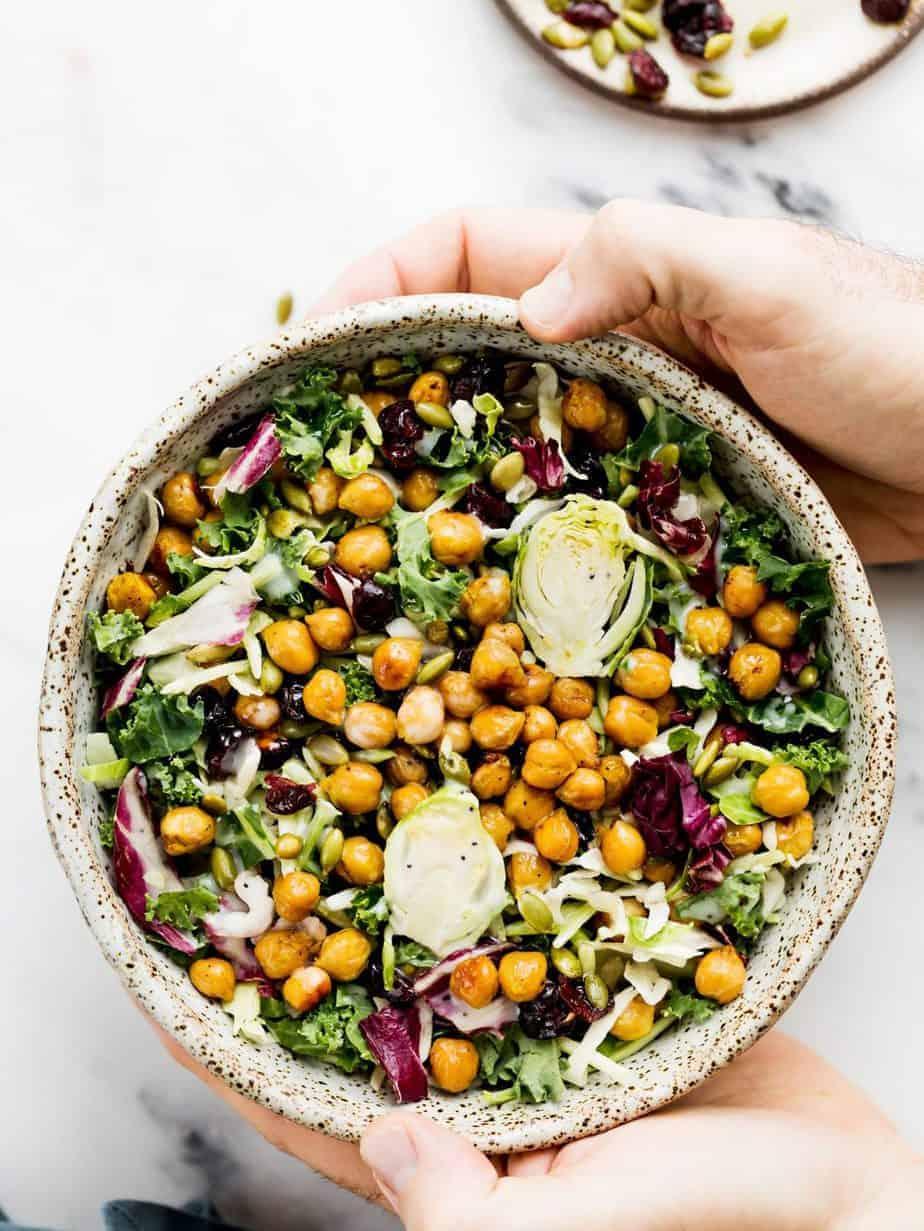 Sweet Kale Salad with Roasted Lemony Chickpeas