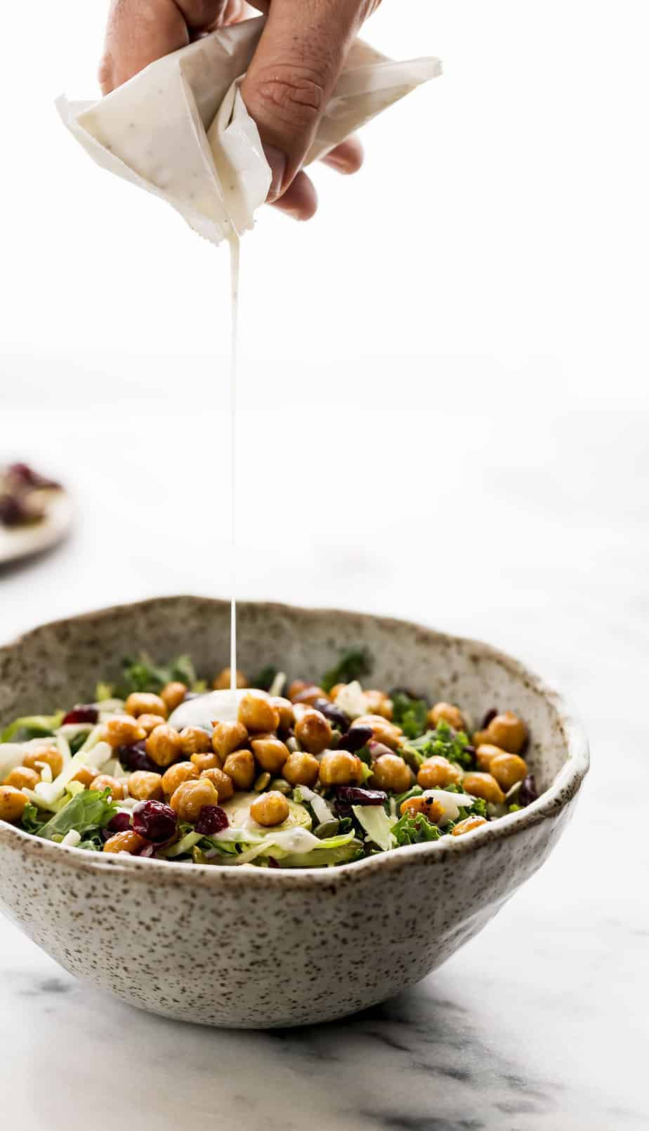 Sweet Kale Salad with Roasted Lemony Chickpeas