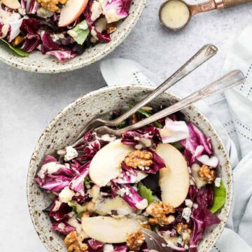 Radicchio Salad with Pear Vinaigrette, Glazed Walnuts and Gorgonzola Cheese
