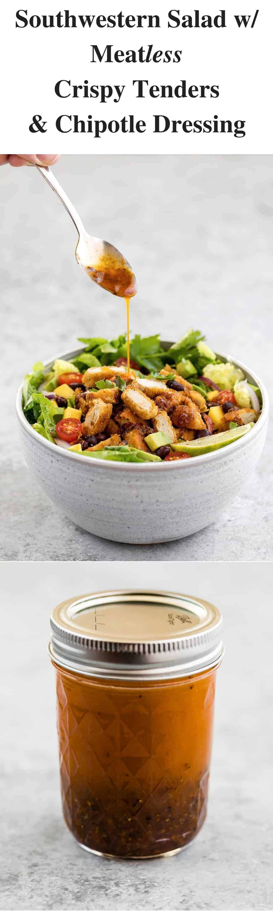 southwestern gardein crispy tenders salad with chipotle dressing