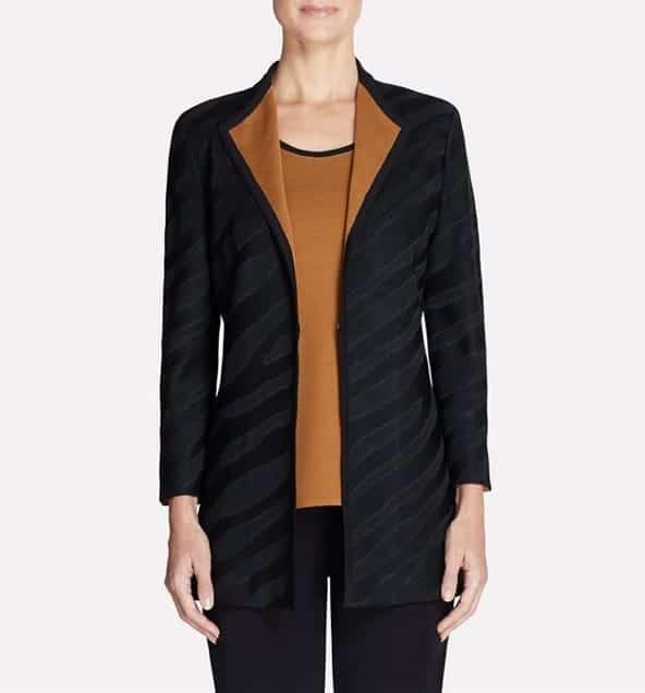 misook Contrast Lapel Jacket