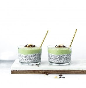 chia pudding with almond milk topped with creamy banana and avocado blend