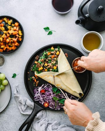 savory crepes with sausage bacon and roasted vegetables