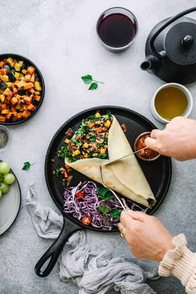 Savory Crepes with Sausage, Bacon and Roasted Vegetables