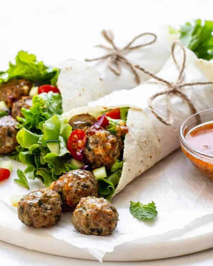 Gluten Free Meatball Wraps with Chipotle Sauce