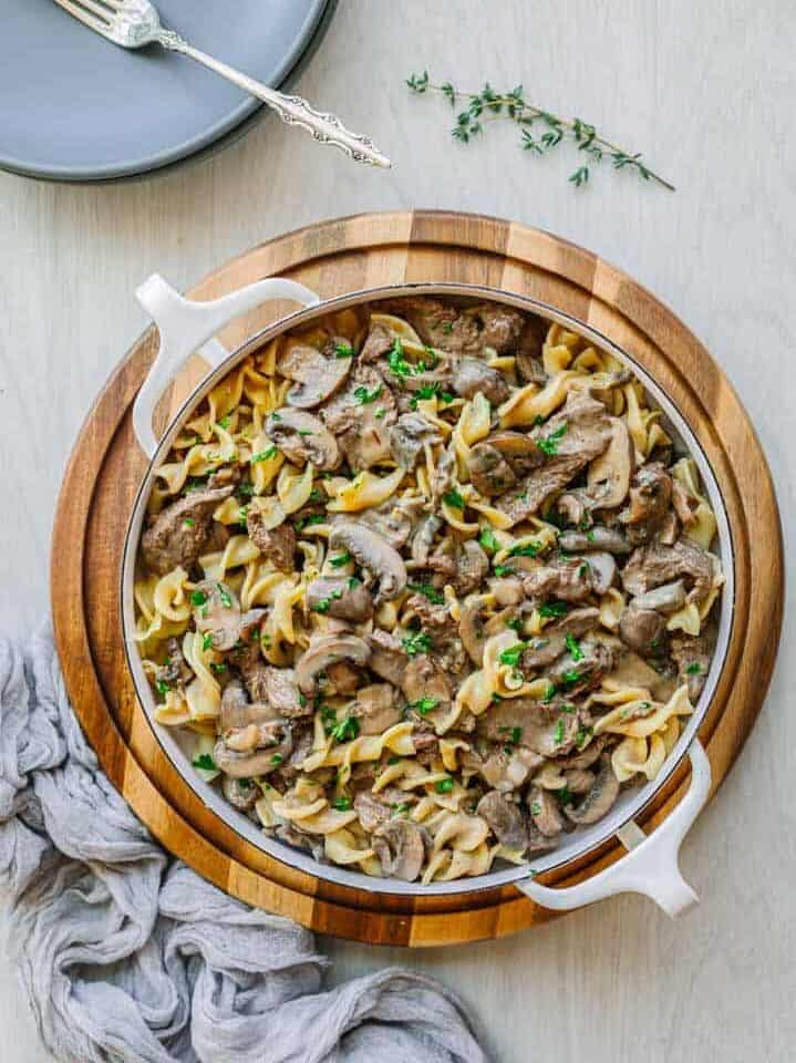 instant pot beef stroganoff and egg noodle