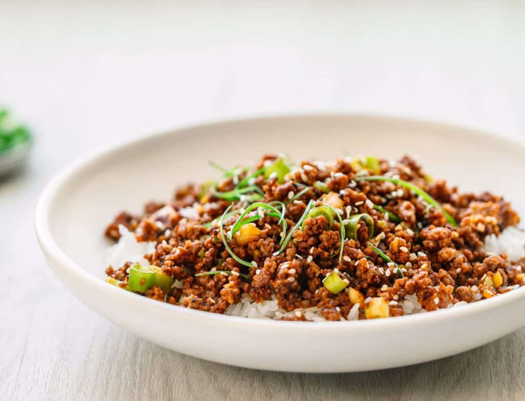 Korean Ground Beef with Gojuchang and Hoisin sauce