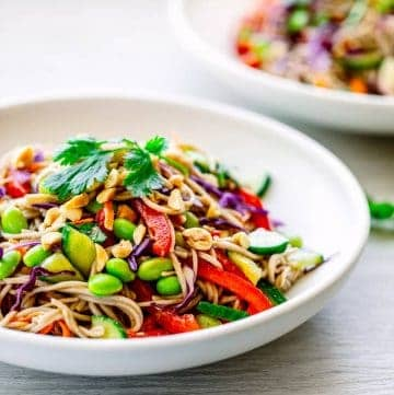 soba noodle salad with asian salad dressing