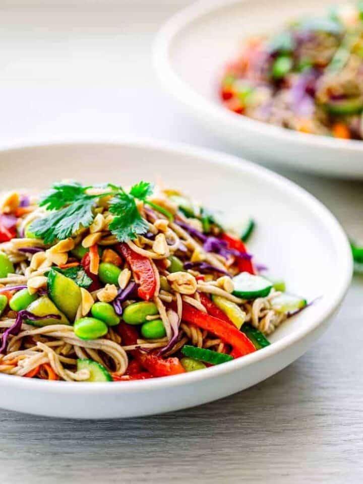 soba noodle salad with asian salad dressing