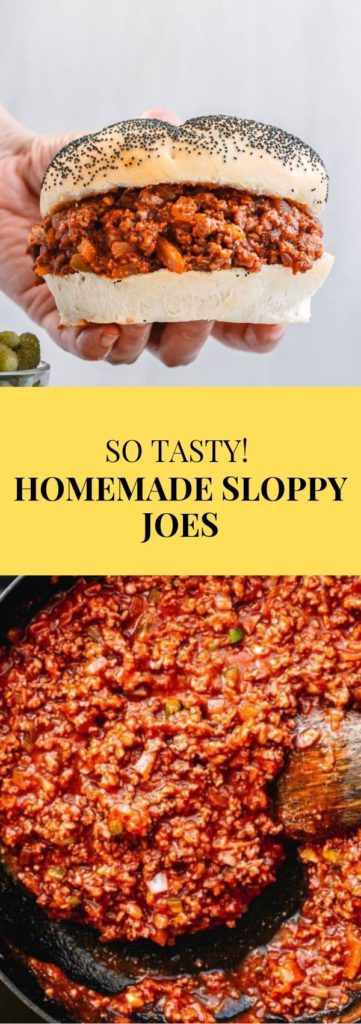 Flavorful Homemade Sloppy Joes recipe! This sandwich consists of minced beef simmered in a seasoned tomato-based sauce and it's cooked in a skillet. The homemade Sloppy Joes sauce is made from scratch, without Manwich!