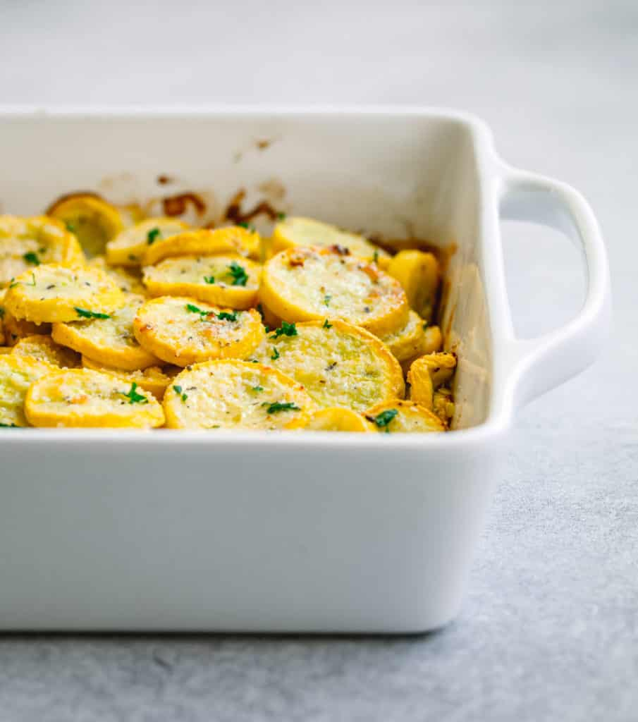 Roasted Yellow Squash with Parmesan Cheese and Herbs